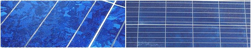 Man erkennt zwei unterschiedliche Ausformungen von polykristallinen Solarzellen