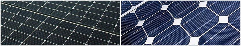 Man erkennt zwei unterschiedliche Ausformungen von monokristallinen Solarzellen